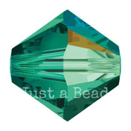 5328 biconische kraal 4 mm emerald AB (205 AB)