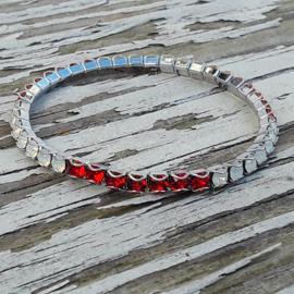 Swarovski Stretch Bracelet rood, wit (vlag)
