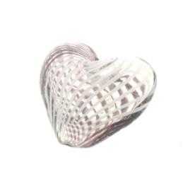 glaskraal hart hol bruin/wit 17x19mm