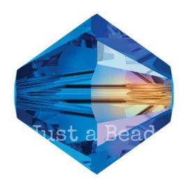 5328 biconische kraal 8 mm sapphire AB (206 AB)