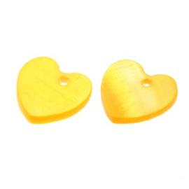 bedel schelp hart geel 13x13 mm  p/2 stuks
