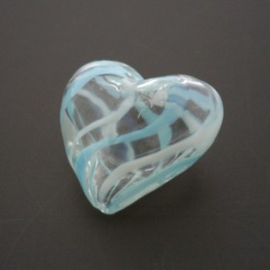 glaskraal hart hol turquoise/wit 17x19mm