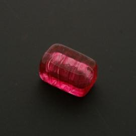 glaskraal vierkant langwerpig roze 13x8mm p/stuk