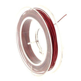 Rolletje staaldraad 0.38 mm nyloncoated rood p/10 mtr