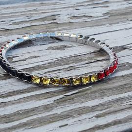 Swarovski Stretch Bracelet zwart, rood, geel (vlag)