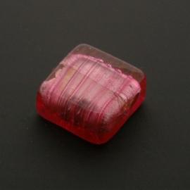 glaskraal vierkant roze 14x14mm p/stuk