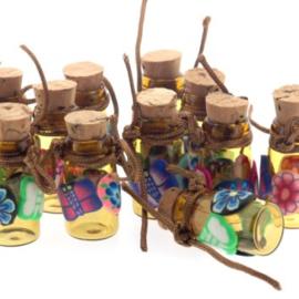 Geluks flesjes klein 25 x 18 mm beplakt met fimo p/12 stuks
