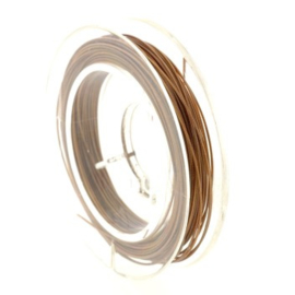 Rolletje staaldraad 0.38 mm nyloncoated choco bruin p/10 mtr