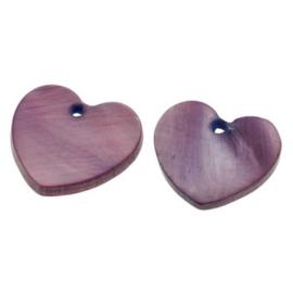 bedel schelp hart paars 13x13 mm  p/2 stuks