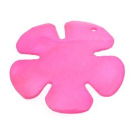 hanger bloem schelp gekleurd roze 38x38mm p/stuk