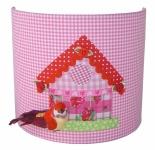 Wandlamp vogelhuisje roze