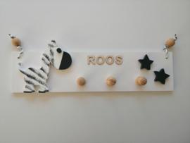 Kapstok zebra met naam en kleine ster