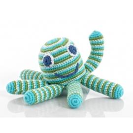 Pebble rammelaar - Octopus blauw/groen