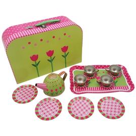 Tinnen theeserviesje roze/groen met koffertje