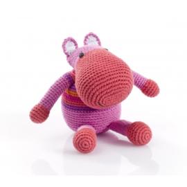Pebble rammelaar - Nijlpaard roze gestreept