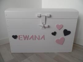 Speelgoedkist hartjes roze/grijs met naam