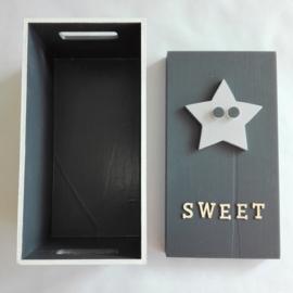 Babycadeau box S/grijs ster
