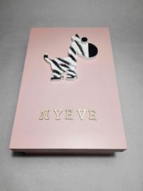 Babycadeau box M/roze zebra
