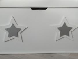 Speelgoedkist wit met sterren