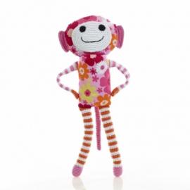 Pebble knuffel - Aap bloem roze