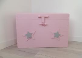 Speelgoedkist groot roze sterren
