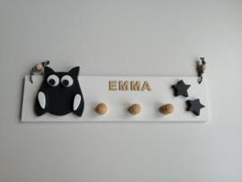 Kapstok uil met naam en kleine ster