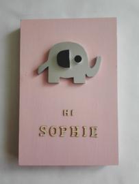 Babycadeau box M/roze olifant