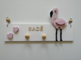 Kapstok flamingo met naam