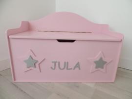 Speelgoedkist ballerina roze met sterren en naam
