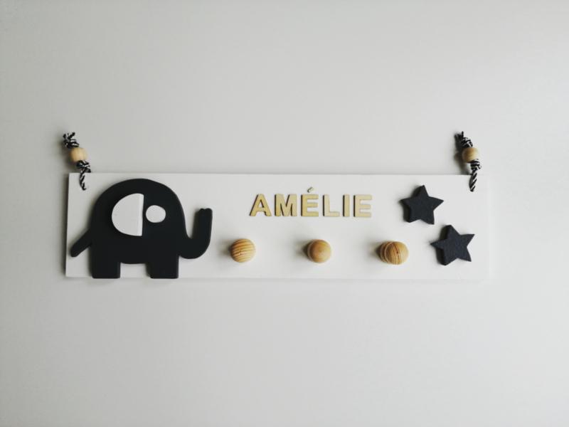 Kapstok olifant met naam en  kleine ster