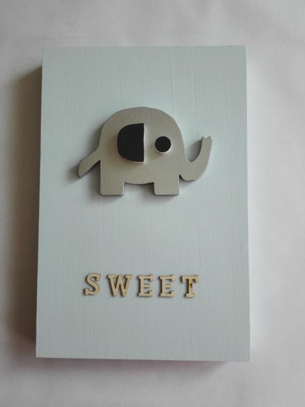 Babycadeau box M/blauw olifant