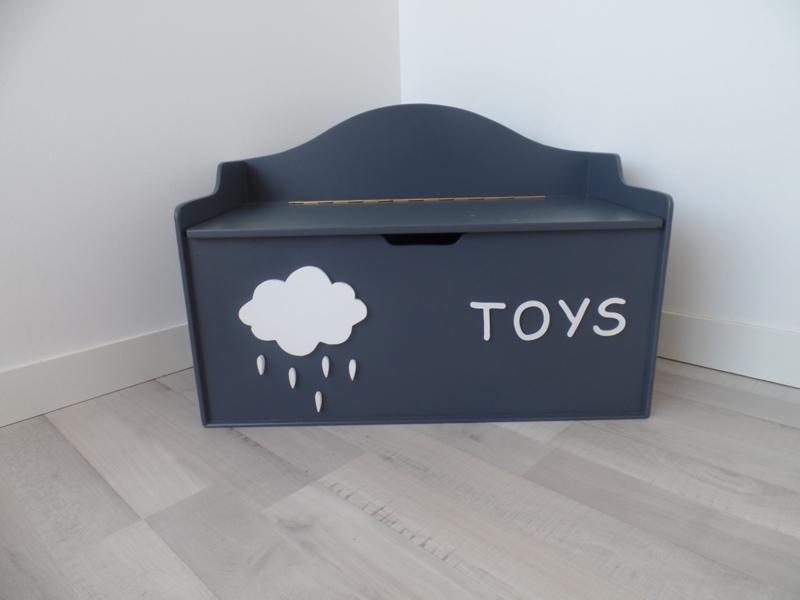 Speelgoedkist grijs wolk