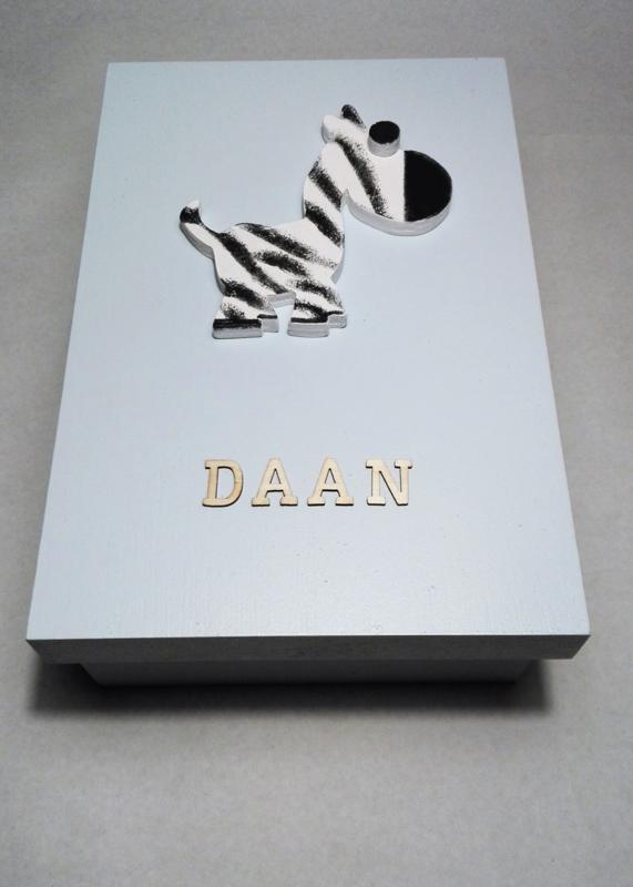 babycadeau box M/blauw zebra