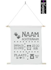 Textielposter | Geboorteposter Hart