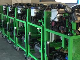 Motor op proefstand met vrij programmeerbaar motormanagement systeem