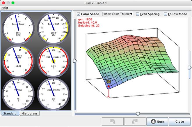 Overzichtelijke tuning interface staat snel en gemakkelijk afstellen toe