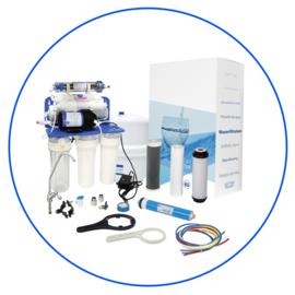 Zelfbouw huishoudelijk 7 staps osmosesysteem met opslagtank , boosterpomp , mineralentoevoeging en ioniserende cartridge. RP75139715