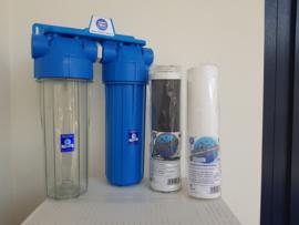 """Regenwaterfilter 2 staps, 3/4"""" aansluitingen."""