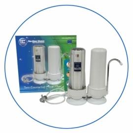 Systeme de filtration 2 étages pour l'installation au comptoir de point d'utilisation.