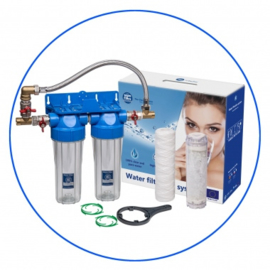 "Waterfilter twin set 3/4"" aansluitingen + bypass"
