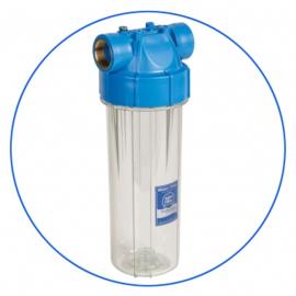 """Porte-filtre transparent 10""""  avec insert laiton - Entrée 3/4 Pouce"""