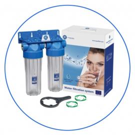 "Waterfilter twin set 3/4"" aansluitingen"