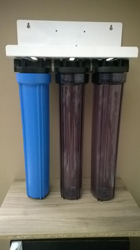 """Regenwaterfilter 3 staps met 20"""" filterhuizen."""