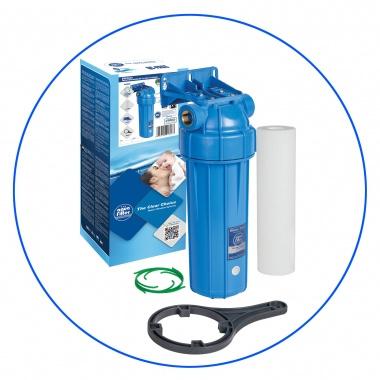 """Porte Filtre 10"""" Opaque - Entrée laiton 3/4 avec filtre sediment de 5µ"""