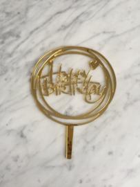 Happy birthday taarttopper hartjes