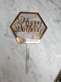 Grijs marmer look Happy Birthday topper