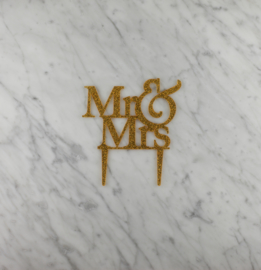 Mr & Mrs glitter taarttopper