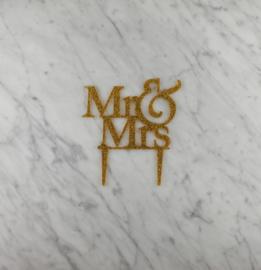 Mr & Mrs glitter taarttopper