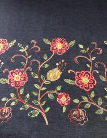 Katoen jeans met borduur bloemen NB3509/016 per 25cm