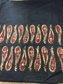 Katoen jeans met borduur fantasie NB3505/016 per 25cm